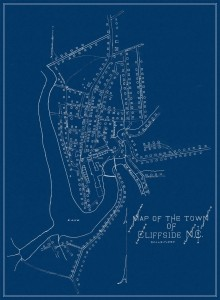 A tall, rectangular map of Cliffside, white lines and letters on a dark blue background.