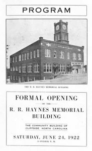 Front of tri-fold program, announcing formal opening of r. r. Haynes Memorial Building.