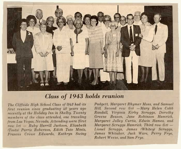 A news clipping with photo and listing of all 20 attendees at the 40th reunion in 1983.