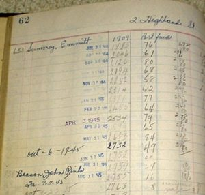 Portions of a ledger page.