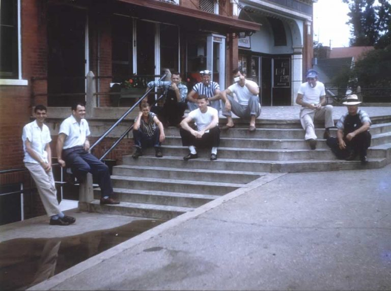 Then men sitting on the steps of the Memorial Building, a favorite gathering place for some of the men of Cliffside.