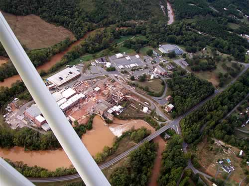 Sky shot of pond and mill site from 2000 feet.