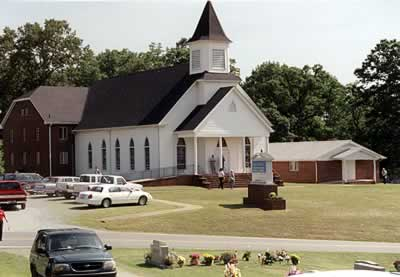 A color photo of the modern church.