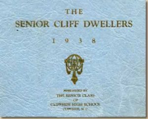"Cover of yearbook. Reads, ""The Senior Cliff Dwellers, 1938. Presented by the senior class of Cliffside High School, Cliffside, N.C."""