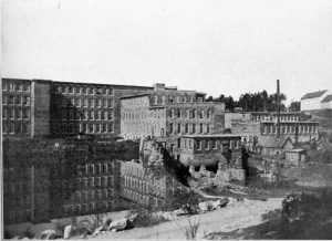 The back cover of the book, a wide view of the early Cliffside mill.