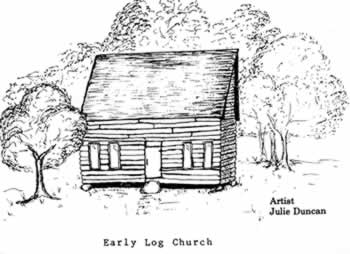 Crude drawing of log church