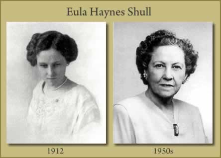 Two photos of Eula Haynes Shull. One taken in 1912, the other in the 1050s.