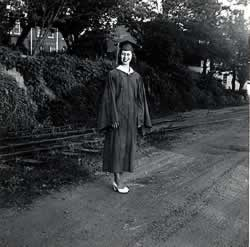 Frances McMurray in cap and gown.