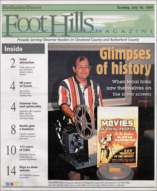 The cover of Foothills Magazine with a photo and story of Phillip White obtaining the Cliffside films.