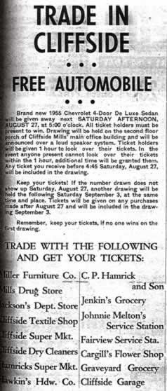 "Newspaper ad 'Trade in Cliffside and win a free automobile."" It lists the contest rules and lists the merchants from whom you could get your tickets."