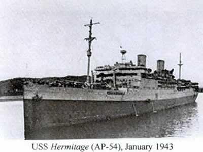 USS Hermitage AP-54), January 1943