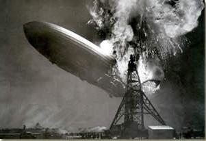 The Hindenburg exploding at its mooring mast in Lakehurst, N. J.