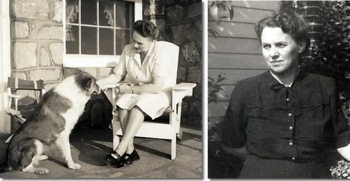 Two photos: Ina sits in a chair on her porch, petting her Collie dog. In the other, Ina stands in her yard with a pensive expression.