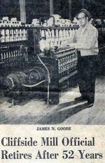 """Newspaper clipping: photo of Jim Good in Cliffside mill. Headline reads """"Cliffside Mill Official Retires After 52 Year."""