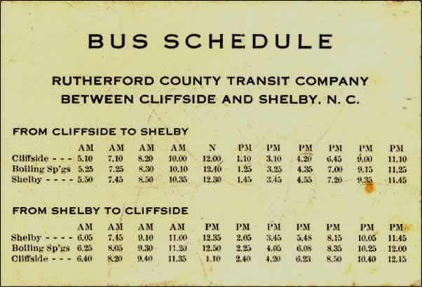 A bus schedule for the Rutherford County Transit Company between Cliffside and Shelby, N. C. showing the daily departure and arrival times (between 5:00am and 11:00pm) for Cliffside, Boiling Springs and Shelby.