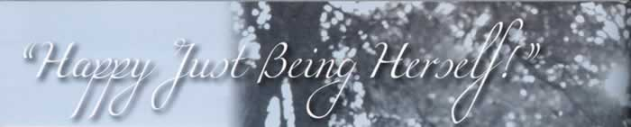 """Story title graphic: """"Happy Just being herself!"""""""