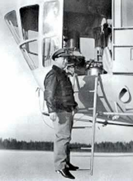 Mills at the cockpit of a blimp