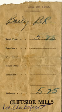 1936 Pay envelope for B. R. Bailey for $5.25.