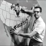 Jim in 1962 drawing funny cartoons on WBTV's weather map.