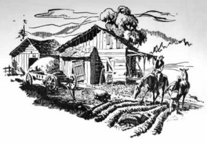 A sketch of a small farm with a ramshackle house and barn and farmers working in the field