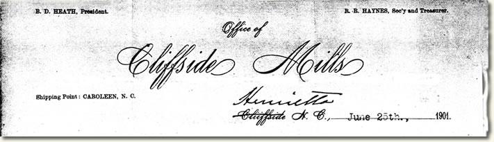 Fragment showing letterhead of Cliffside Mills, dated June 23, 1901.