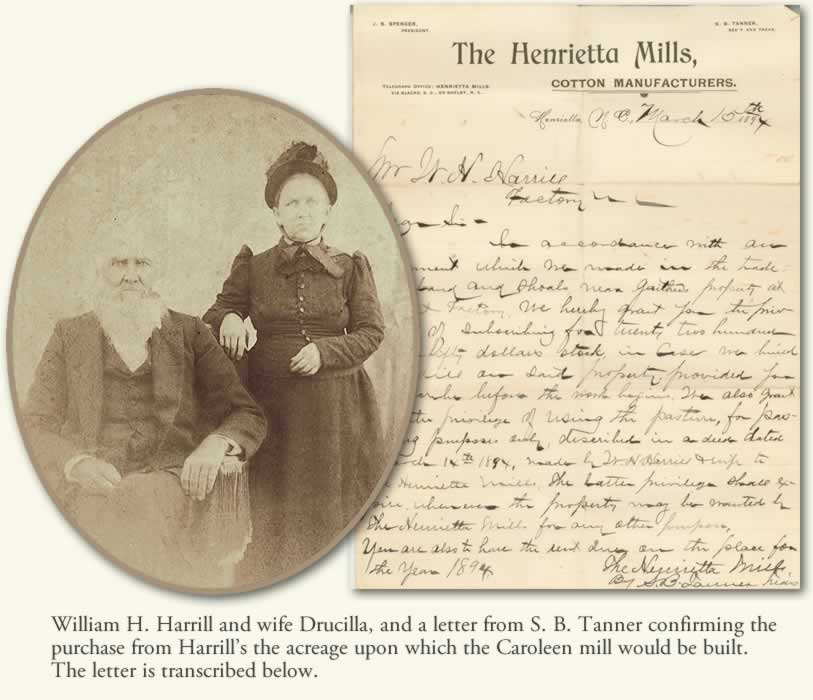 An oval photo of William H. Harrill, and old man with a long white beard, and his wife Drucilla, and an image of the letter transcribed below.