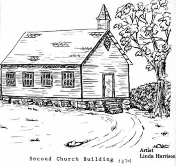 Drawing of more modern church built in the 1870s.