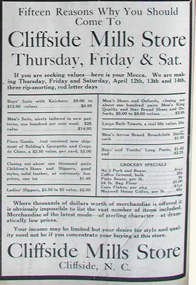 Scan of a quarter-page advertisement for Cliffside Mills Store's big sale, to be held, as the ad says 'Thursday, Friday and Saturday, three rip-snorting, red letter days. It lists dozens of items and prices.