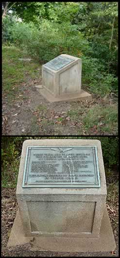 Two photos of plaque on old, weathered cement base at its old location near edge of property.