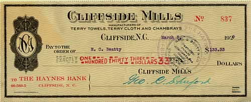 Paycheck is from Cliffside Mills.