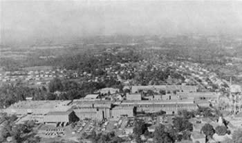 Aerial view of Spindale and Stonecutter mill