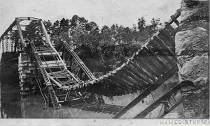 Sagging trestle demolished by great flood of 1916