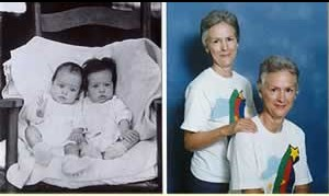 Dee and Lee Prewitt as babies and another photo as adults