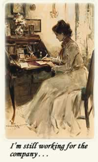 Painting of woman in 1910s at writing desk