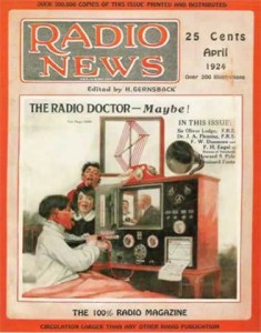 The cover of the April 1924 issue of Radio News. An illustration of a happy family around the artist's conception of the radio of the future: which includes a TV screen and a printer ejecting a small newspaper