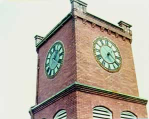 The clock in the tower atop the memorial building.