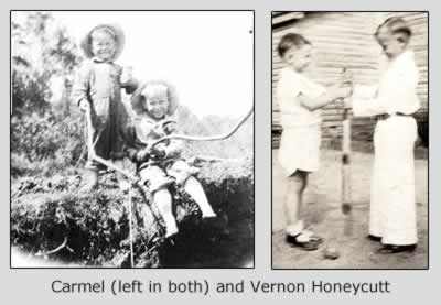 Two photos of the Honeycutt brothers. In one, they are about three and four, playing with  small tree limbs as if they're fishing poles. In the other they have reached the ages of six and seven and are playing baseball in their yard.