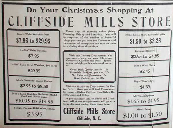 Cliffside Mills Store Ad