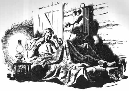 Sketch of old man on a cot talking on an old-style wooden wall phone. A kerosene lamp beside him lights the room.