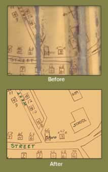 Before and after shot showing original deterioration and restoration of same area.