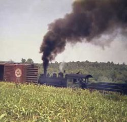 Locomotive, puffing tall column of smoke, pushing boxcars over green landscape.