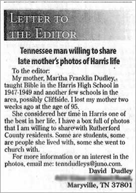 Clipping of the letter to the editor.