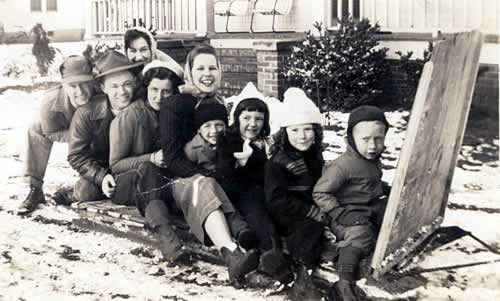 Family and friends crowded on the home-made sled.