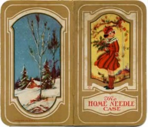 Ornate 1920's-style design, labeled 'The Home Needle Case,' shows drawings of a snowy winter scene, and a spring scene with a little girl amid lots of blossoms.