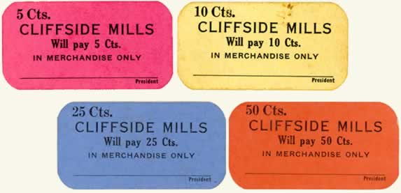 Four scrip examples of different denominations between five cents and 50 cents.