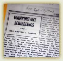 A fragment of a news page showing one day's Scribbling header, reading 'Unimportant Scribblings by Mrs. Grover C. Haynes.'