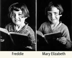 Individual of Freddie and Mary Elizabeth, in early grammar grade, each with a book.