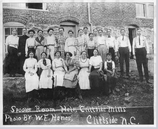 "Photo is hand-titled: ""Spooler Help, Cliffside Mills. Photo by W. E. Hames, Cliffside, N.C.."""