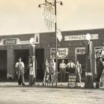 An early 1950s gas station
