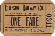 an old passenger ticket for Cliffside Railroad